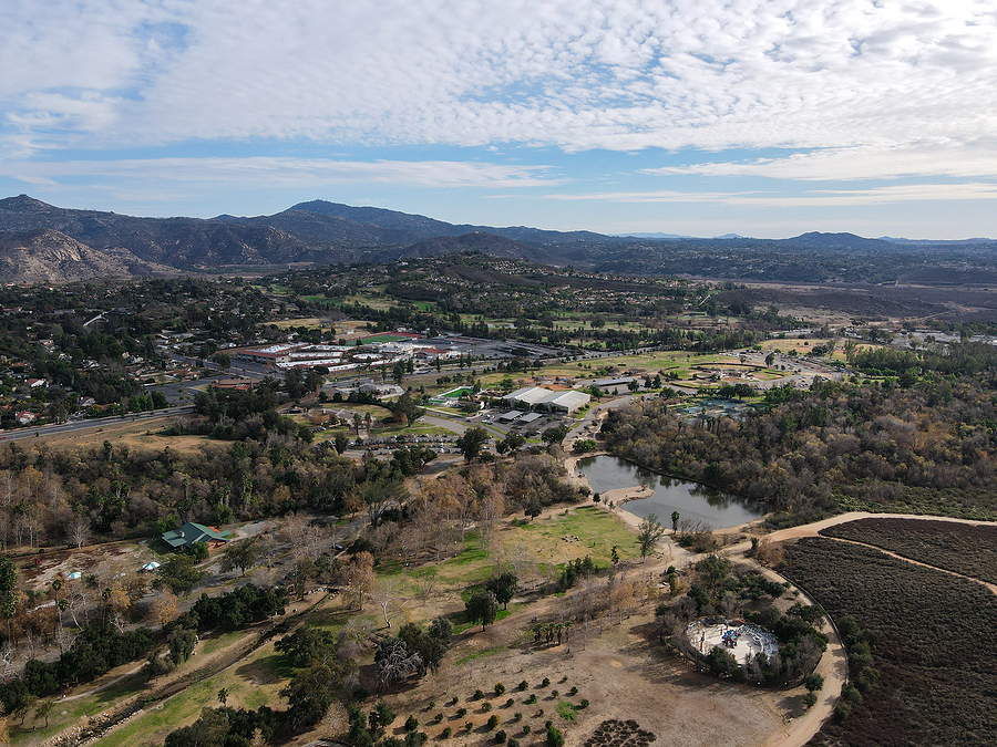 Aerial view of The East Canyon Area of Escondido with mountain on the background, San Diego, California